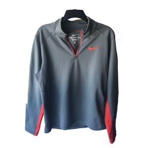 Nike Long Sleeve Pullover Top Therma-Fit Grey Med